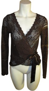 Ideology Lace Mock Wrap Stretch Top brown