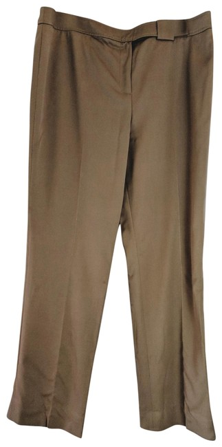 Item - Tan Wool Smooth Gabardine Lined Seamed Front Legs Pants Size 14 (L, 34)