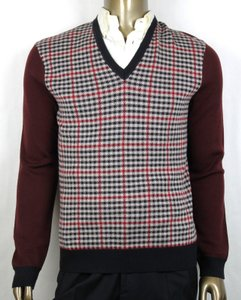 Gucci Wine/Beige/Black Wine/Beige/Black Cashmere/Wool Checkered Sweater M 429815 5040 Groomsman Gift