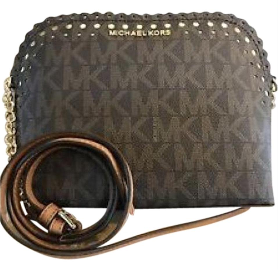 cd9b05f28f0e MICHAEL Michael Kors Scalloped Cindy Brown and Gold Leather Cross ...