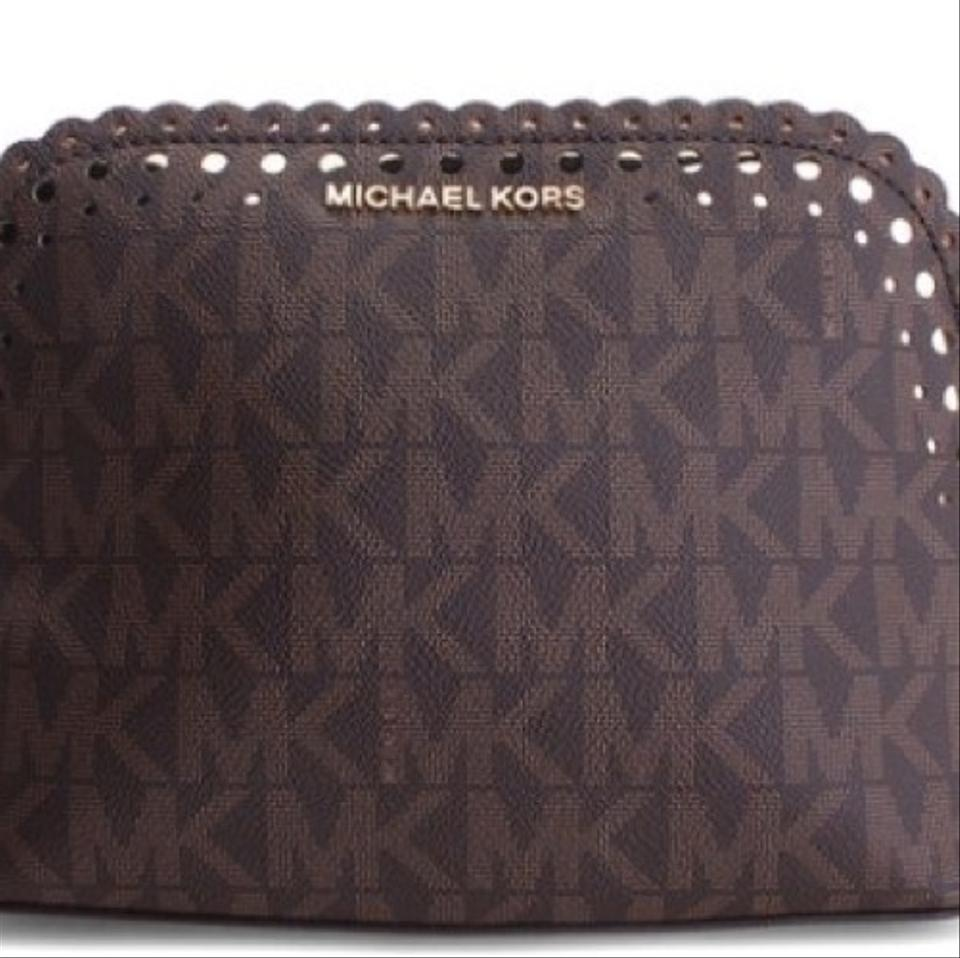 3858a5842452 MICHAEL Michael Kors Scalloped Cindy Brown and Gold Leather Cross Body Bag