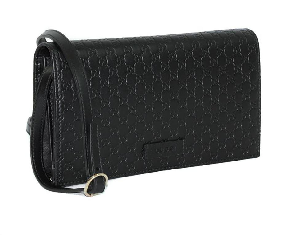 6900bb418f8f Gucci W 466507 Microguccissima Wallet W/ Detachable Shoulder Str Black  Leather Cross Body Bag