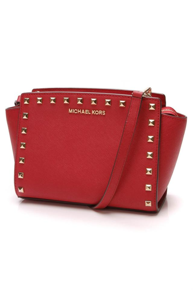 Michael Kors Studded Selma Mini Red Saffiano Leather Cross Body Bag ... 3530c61a339ac