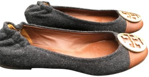 Tory Burch Gold Hardware Wool Leather Grey Flats