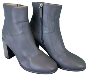 Chanel Leather Chunky Heels Gray Boots