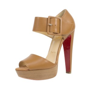 6f4f8a54a6f2 Christian Louboutin Red Bottom Buckle Leather Open Toe Brown Sandals
