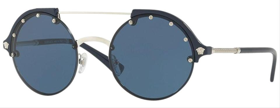 ed5c1be34c Versace Silver Blue Frame   Blue Lens Ve4337 525180 Round Style ...