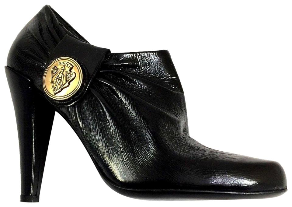 986804501a3 Gucci Black Hysteria Leather Crest Gold Medallion 202939 Boots Booties