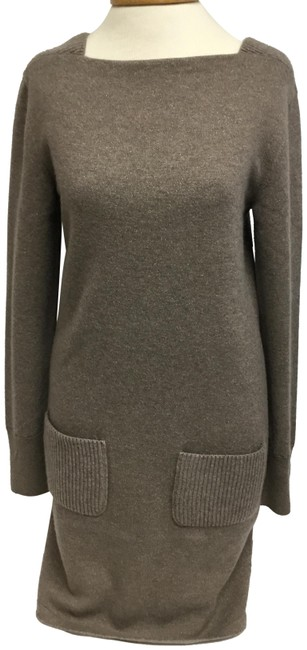 Item - Brown Metallic Knit Sweater Mid-length Short Casual Dress Size 4 (S)