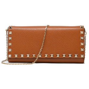 Valentino Valentino Garavani Rockstud Brown Pebbled Leather WOC