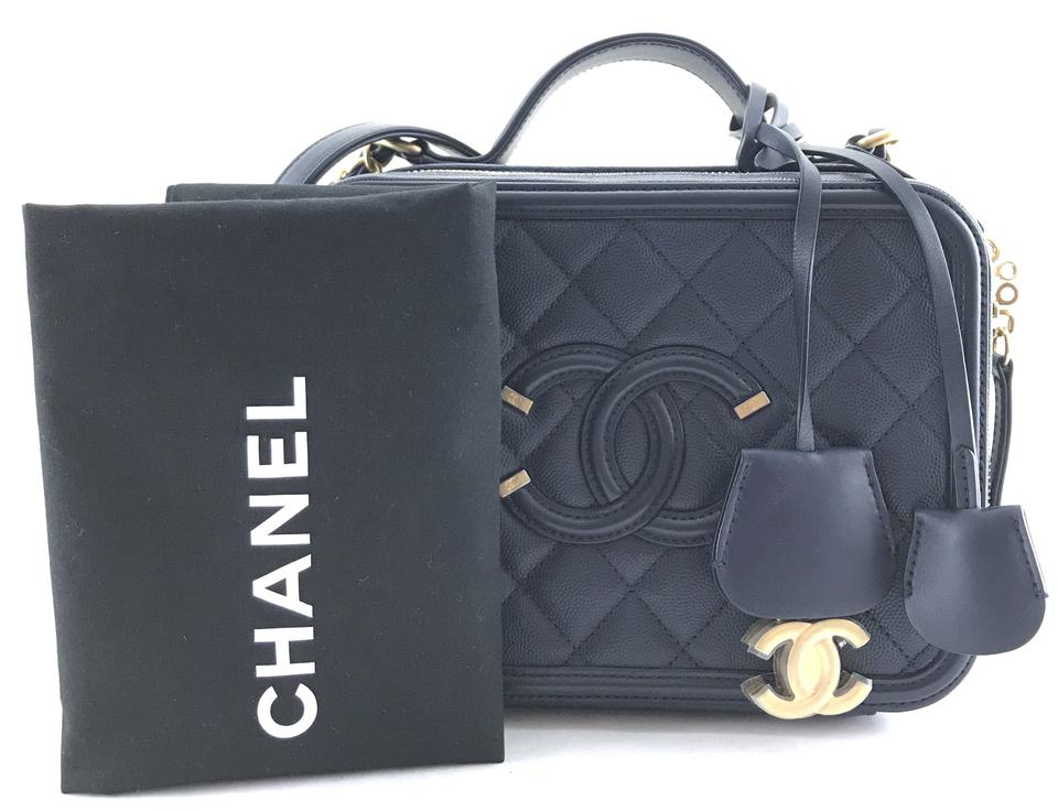 be3e264479d079 Chanel #26035 Extremely Rare Filigree Vanity Cc Case Medium Two Way Satchel  Navy Caviar Leather Shoulder Bag