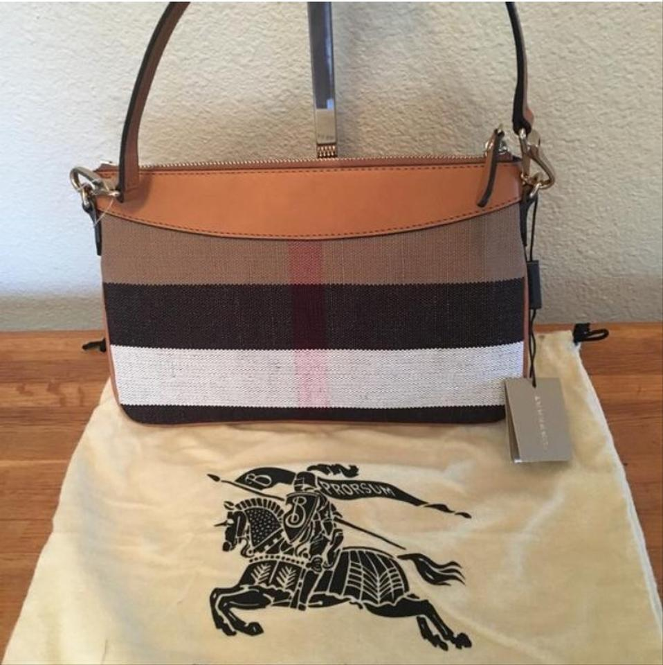 15ea3116b Burberry Clutch Peyton / Check / / Leather Saddle Brown / Camel Canvas  Cross Body Bag - Tradesy
