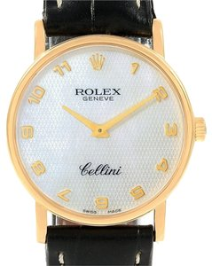 Rolex Rolex Cellini Classic Yellow Gold MOP Dial Black Strap Watch 5115
