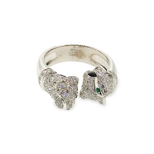 Cartier Cartier 18K White Gold 2 Heads Panthere Diamond, Onyx and Emerald Ring