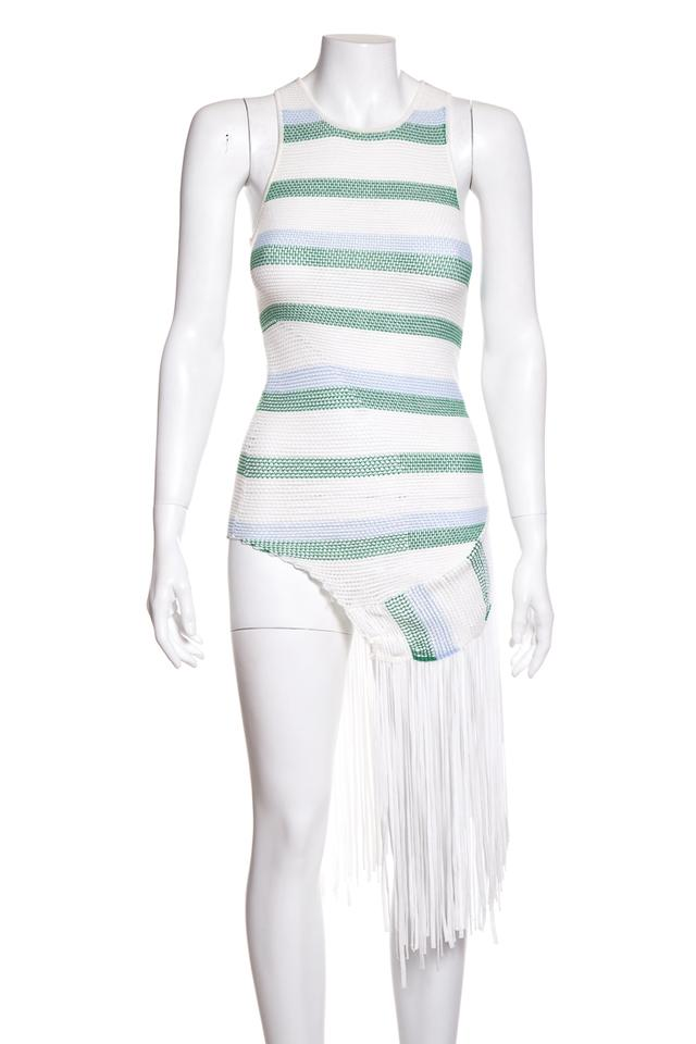 341fa787db31f Stella McCartney White   Blue Striped Knit Short Casual Dress Size 2 ...