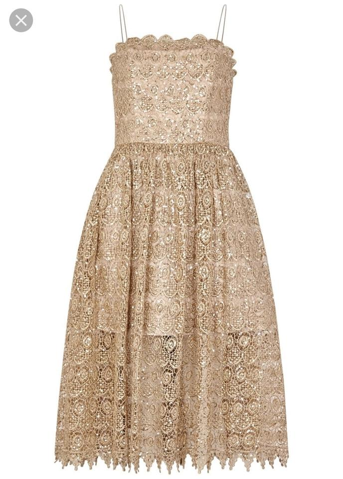419b57e4af3cf Alice + Olivia Gold Alma Party Mid-length Cocktail Dress Size 4 (S ...