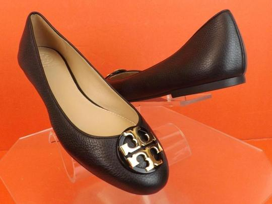 50d7883a5 Tory Burch Black Claire Tumbled Leather Gold Tone Reva Ballet Flats ...
