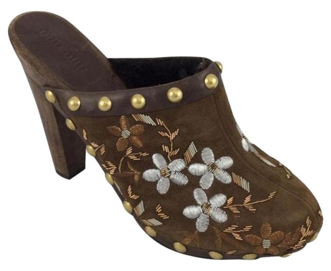 Item - Brown Embroidered Suede Wooden Mules/Slides Size US 7 Regular (M, B)