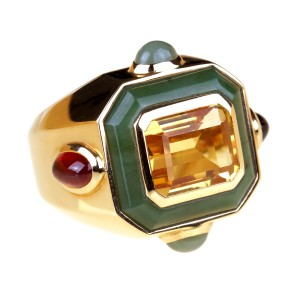 Chanel Chanel Citrine Jade Gold Cocktail Ring