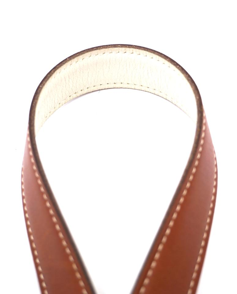 74d79736ad7e Hermès  24892 Brown On Off-white Cream Rare 24mm Silver Brushed ...