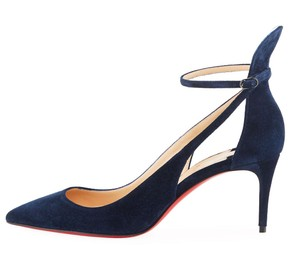Christian Louboutin Mascara 70mm Suede Strappy Blue Pumps