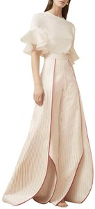 Alexis Wide Leg Pants Red/off white