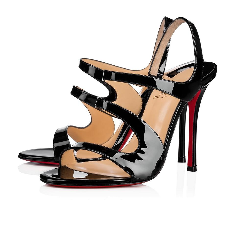 4380251db48 Christian Louboutin Black Vavazou 100mm Patent Strappy Abstract B301 Sandals
