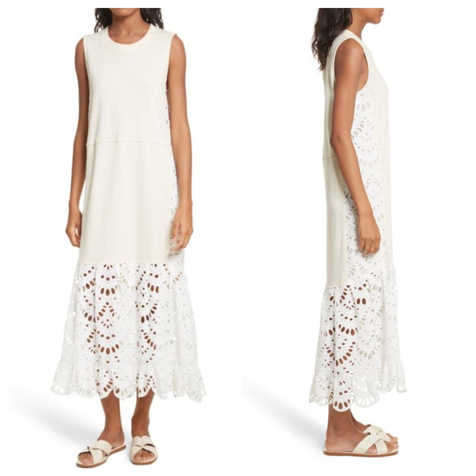 19316c6f See by Chloé Ivory Eyelet Lace Trim Hem Tank Long Casual Maxi Dress Size 6  (S) 64% off retail