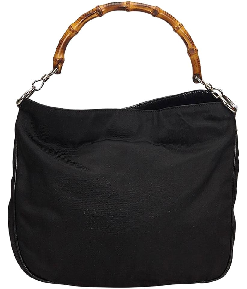 35dbf0a5d6 With Bamboo Handle Black Nylon Shoulder Bag