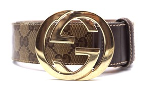 Gucci GG logo gold buckle leather Belt Size 85 34