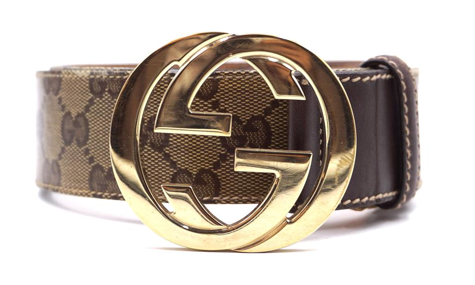 4a0593be6 Gucci #24906 Guccissima Beige Gg Logo Gold Buckle Leather Size 85 34 ...