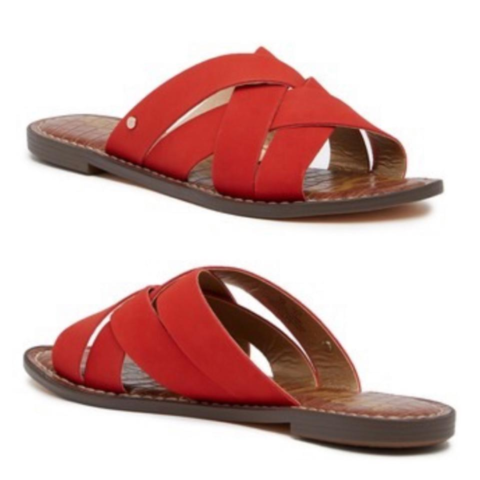 63e8283c1d5a3 Sam Edelman Red Gaile Leather Criss Cross Strappy Slides Sandals. Size  US  6.5 ...