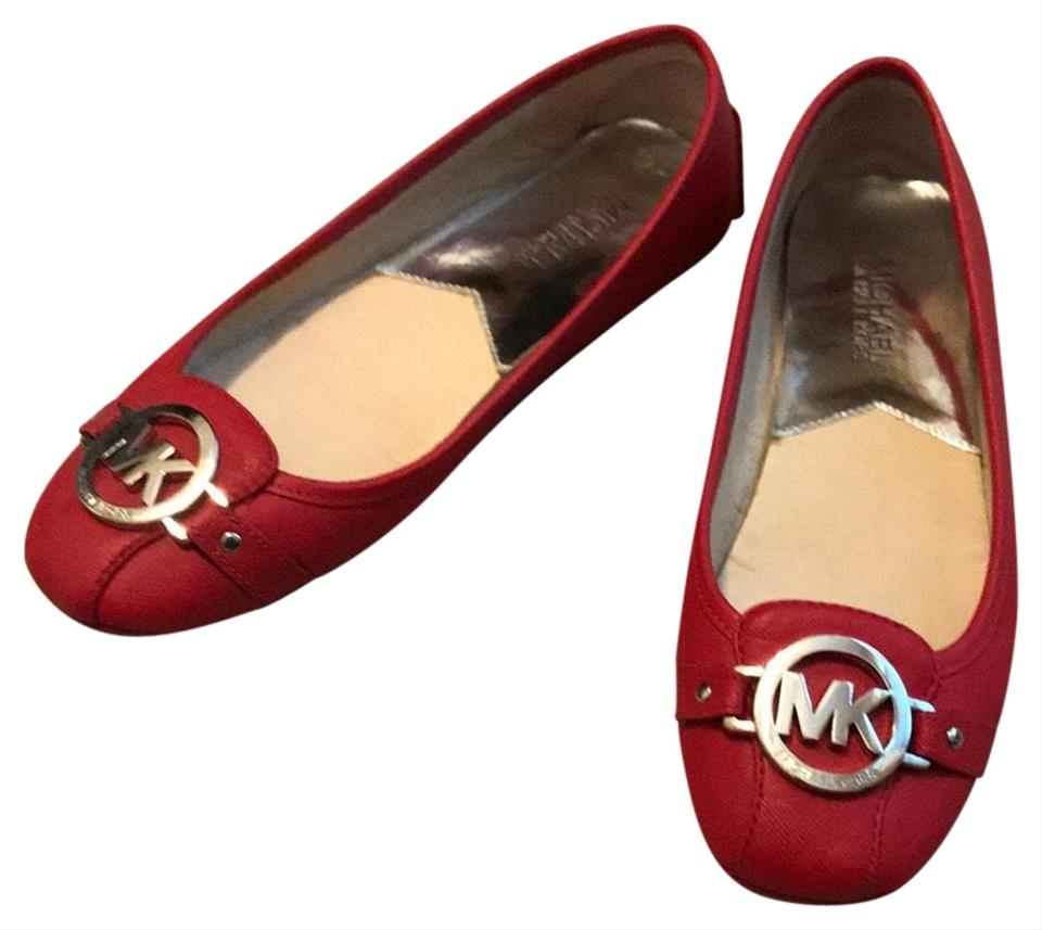 4e229f79b07 MICHAEL Michael Kors Red Lillie Leather Moccasin Flats Size US 8 ...