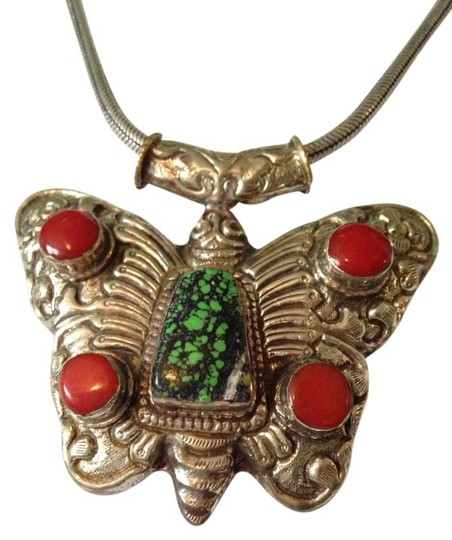 Preload https://img-static.tradesy.com/item/2457556/redturquoisesilver-large-butterfly-w-coral-necklace-0-0-540-540.jpg