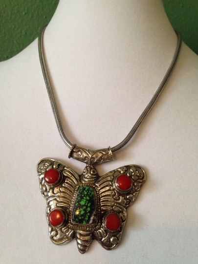 Other Large Silver Butterfly W/ Red Coral & Turquoise Necklace Image 1