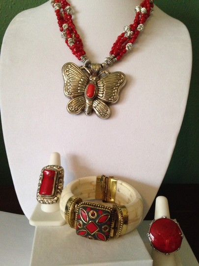 Other Large Silver Butterfly W/ Red Coral & Turquoise Necklace Image 4