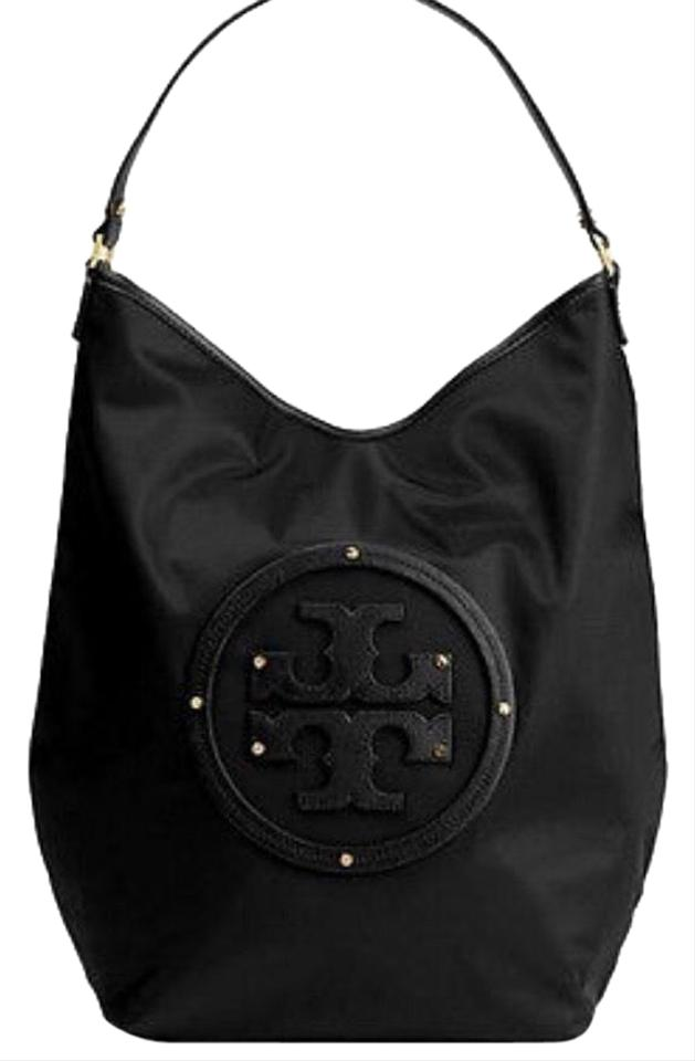 b784e70b08 Tory Burch Slouchy Stacked Logo Black Nylon Hobo Bag - Tradesy
