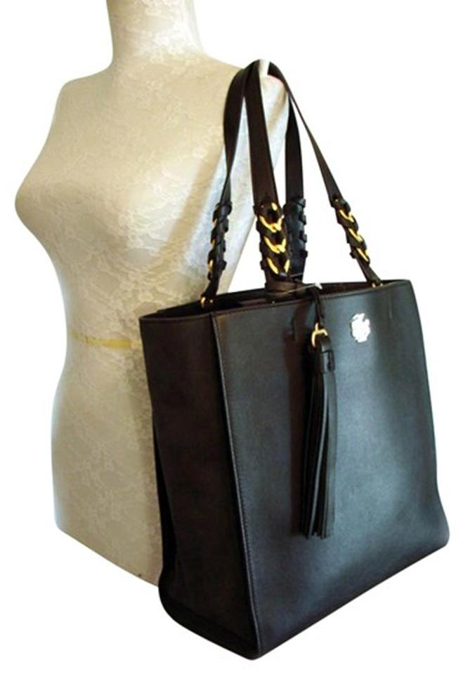 4a9f3a21fe4ef Tory Burch Brooke Pebbled Leather Suede Black Leather Tote - Tradesy
