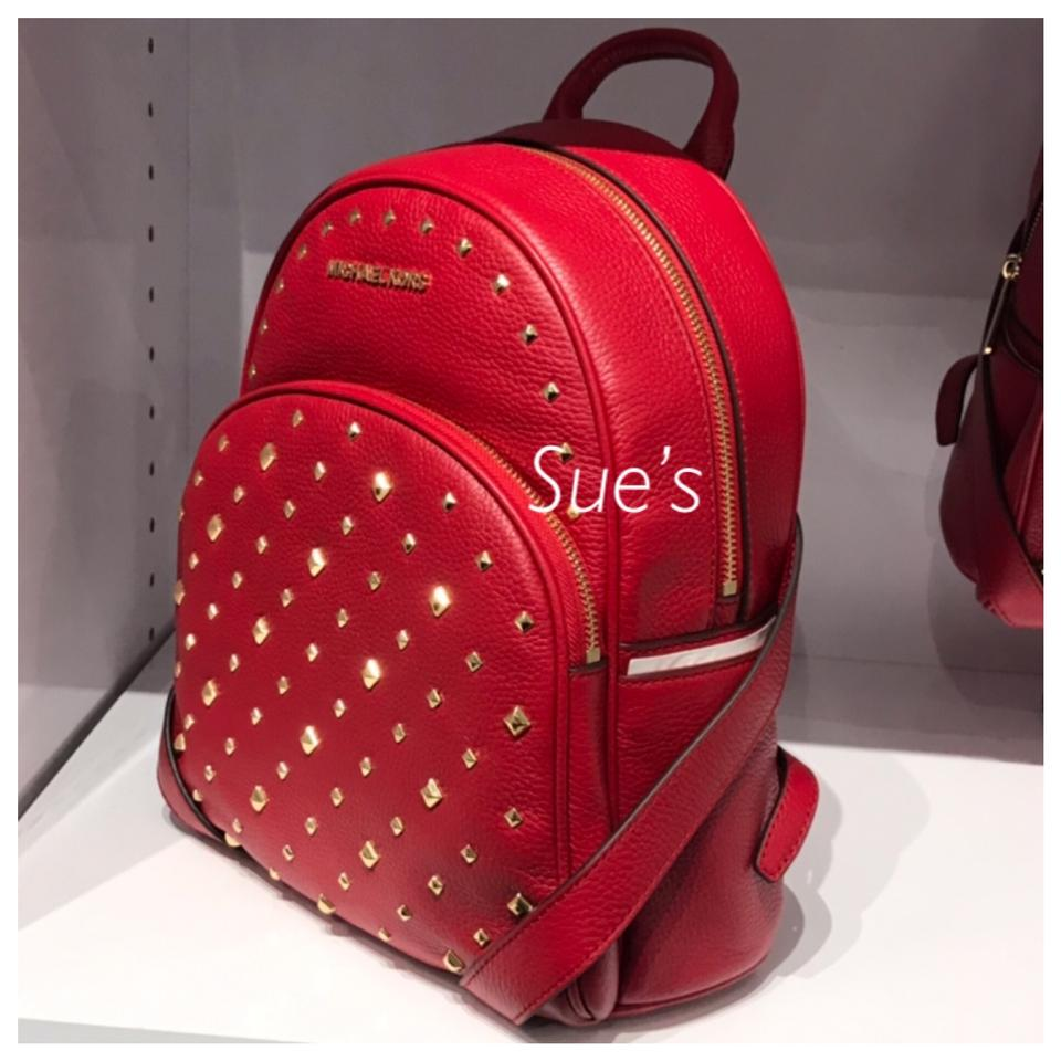 bd11880a7221 Michael Kors Mk Abbey Medium Studded Leather Scarlet Backpack - Tradesy