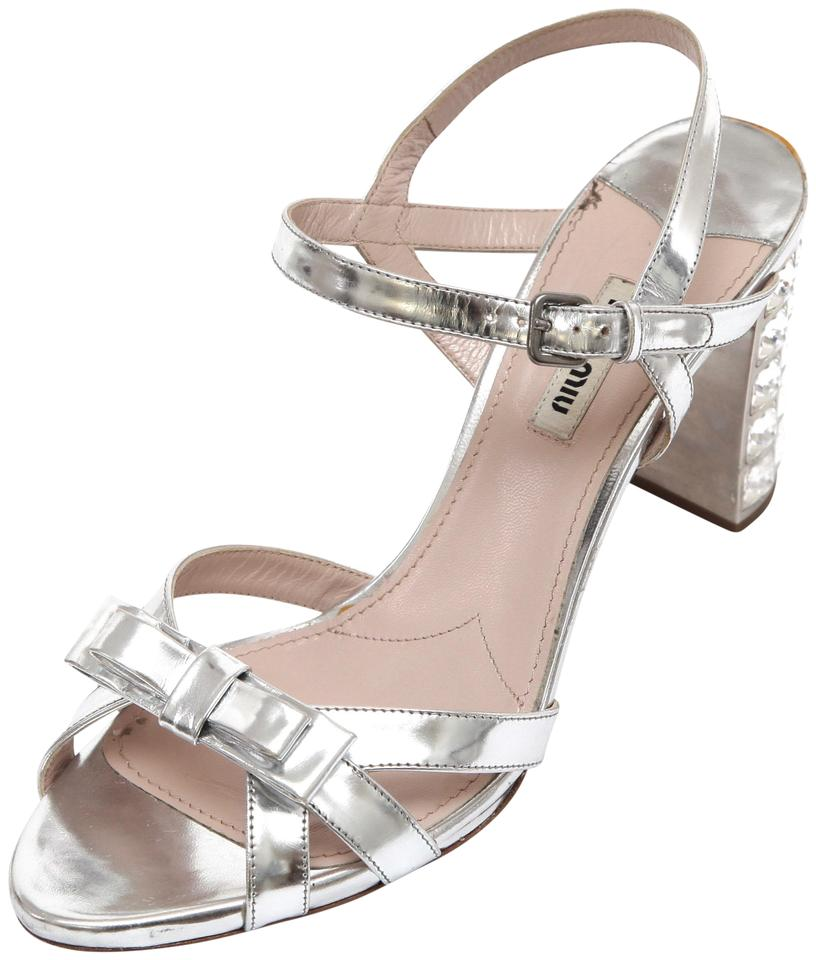 1d3943de82ee Miu Miu Silver Platform Jeweled Heel Leather Metallic Sandals Size ...