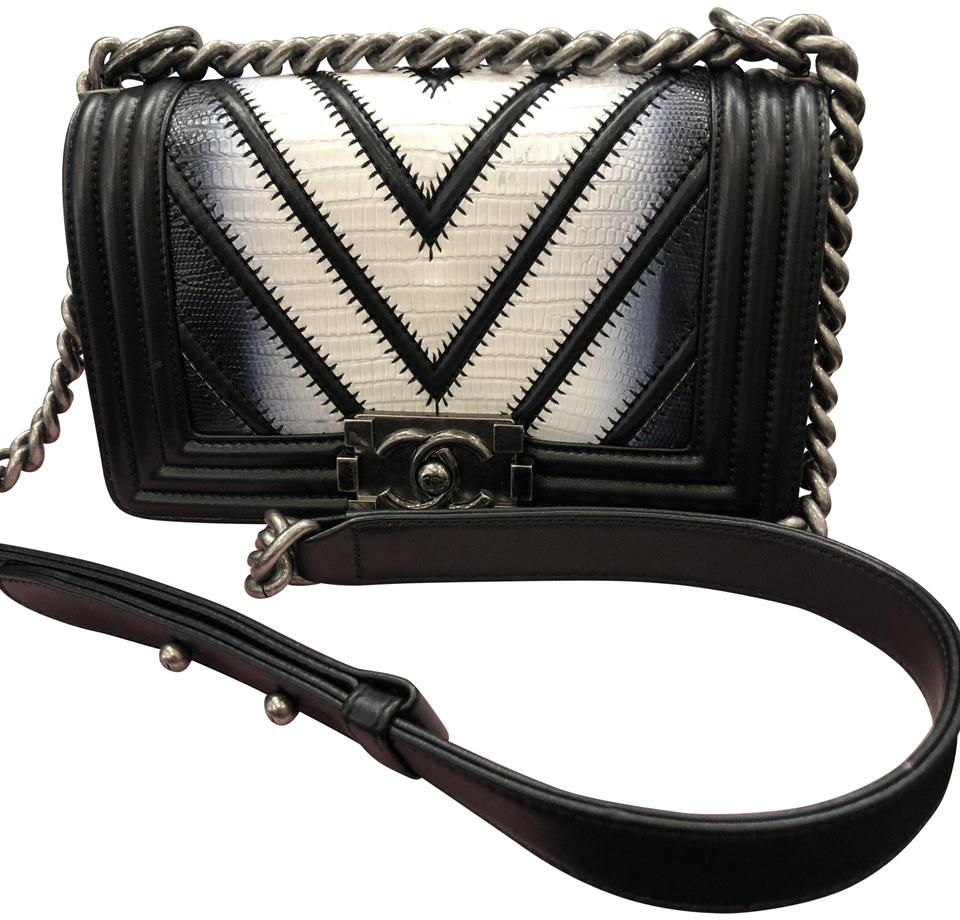 2ea1c4aa5bdc Chanel Boy Small Lizard Black Shoulder Bag - Tradesy