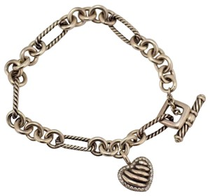 David Yurman David Yurman Diamond Heart Charm Bracelet