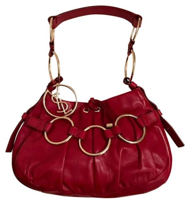Item - Rive Gauche Small Chain Red Lambskin Leather Hobo Bag