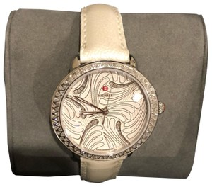 Michele Michele Serein 16 Swan Diamond face with Pearl leather strap