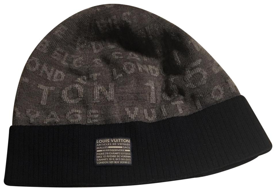 bb563850b7e Louis Vuitton Navy Blue and Gray Bold Stamps Wool Hat - Tradesy