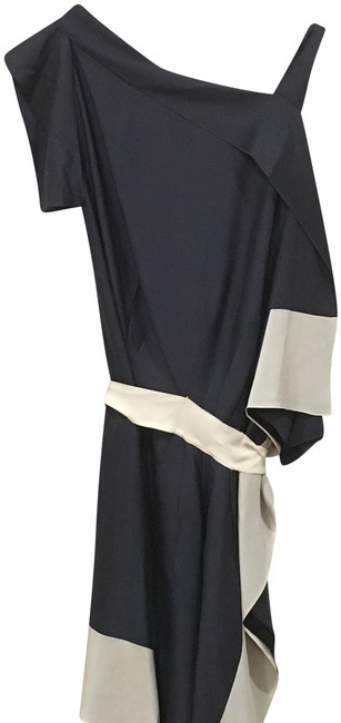 Item - Blue and White Silk Asymmetrical 6-8 Us / M Mid-length Cocktail Dress Size 8 (M)