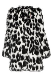 Marc Jacobs Faux Fur Leopard Brooch Pea Coat