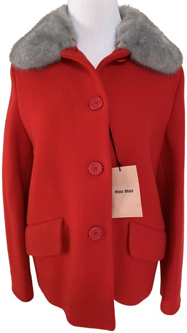 Item - Red Wool Angora Gray Mink Fur Collar Button Up Jacket Coat Size 6 (S)