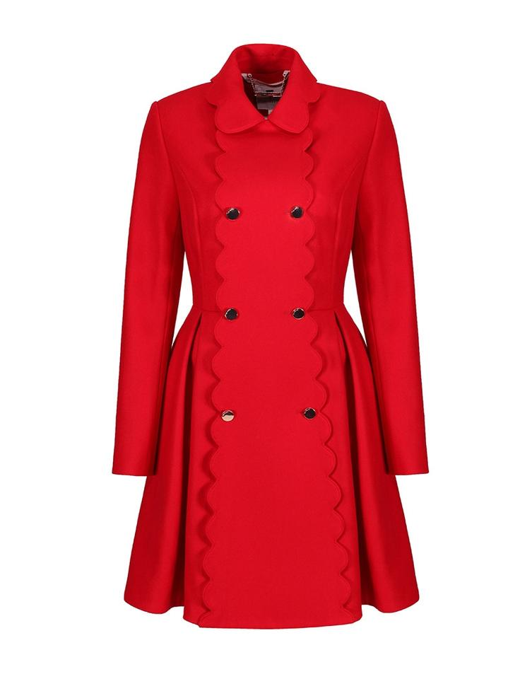 86c481cb4fbe Ted Baker Mid Red Blarnch Scallop Trim Wool Coat Size 6 (S) - Tradesy