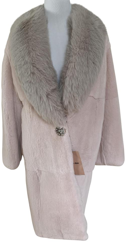 new appearance shop for luxury new lifestyle Miu Miu Light Pink Rex Rabbit Fox Collar Crystal Coat Size 6 (S) 25% off  retail